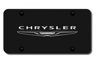 Autogold® - 3D Laser Etched Chrysler Logo on Black License Plate
