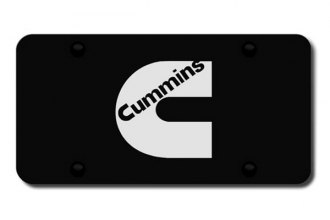 Autogold® - 3D Laser Etched Cummins Logo on Black License Plate