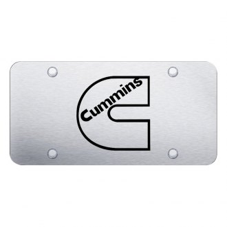 Autogold® - 3D Laser Etched Cummins Logo on Brushed Stainless Steel License Plate