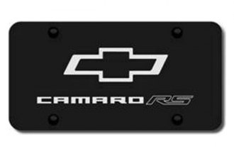 Autogold® - 3D Laser Etched Camaro RS Logo on Black License Plate