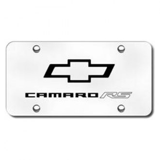 Autogold® - 3D Laser Etched Camaro RS Logo on Brushed Stainless Steel License Plate