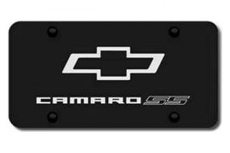 Autogold® - 3D Laser Etched Camaro SS Logo on Black License Plate