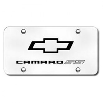Autogold® - 3D Laser Etched Camaro SS Logo on Brushed Stainless Steel License Plate