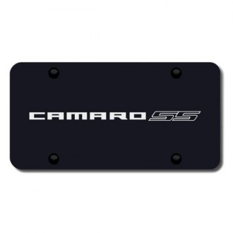 Autogold® - 3D Laser Etched Camaro SS Name Logo on Black License Plate
