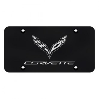 Autogold® - Black License Plate with Laser Etched Corvette C7 Logo