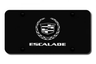 Autogold® - 3D Laser Etched Escalade Logo on Black License Plate