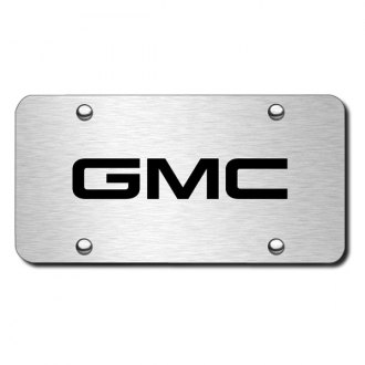 Autogold® - 3D Laser Etched GMC Logo on Brushed Stainless Steel License Plate