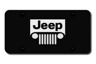 Autogold® - Jeep Grill Logo on Black License Plate