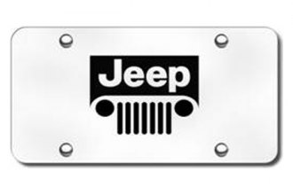 Autogold® - 3D Laser Etched Jeep Grill Logo on Brushed Stainless License Plate