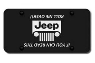 Autogold® - 3D Laser Etched Jeep Grill Logo on Black License Plate