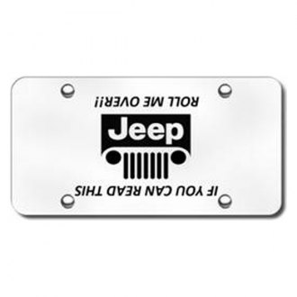 Autogold® - 3D Laser Etched Jeep Grill Logo on Chrome License Plate