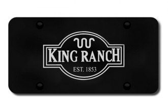 Autogold® - 3D Laser Etched King Ranch Logo on Black License Plate