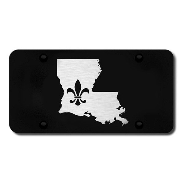 Autogold® - 3D Laser Etched Fleur-di-Lis on LA outline Logo on Black License Plate