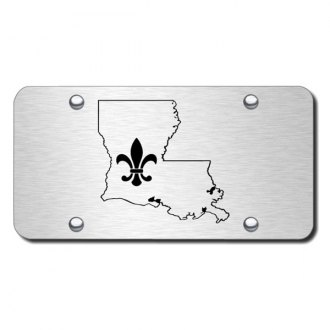 Autogold® - 3D Laser Etched Fleur-di-Lis on LA outline Logo on Brushed Stainless License Plate