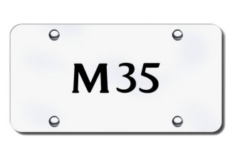 Autogold® - 3D Laser Etched M35 Logo on Brushed Stainless License Plate