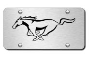 Autogold® - 3D Laser Etched Mustang Pony Logo on Chrome License Plate