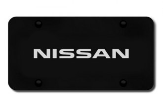 Autogold® - 3D Laser Etched Nissan Name Logo on Black License Plate