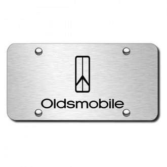 Autogold® - 3D Laser Etched Oldsmobile Rocket Logo on Brushed Stainless License Plate