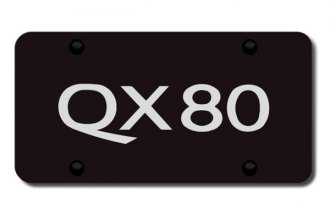 Autogold® - 3D Laser Etched QX80 Logo on Black License Plate