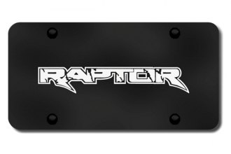 Autogold® - 3D Laser Etched Raptor Logo on Black License Plate