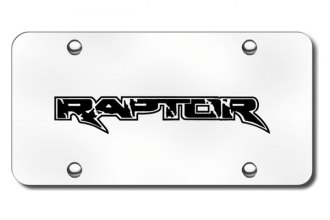 Autogold® - 3D Laser Etched Raptor Logo on Chrome License Plate