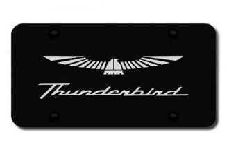 Autogold® - 3D Laser Etched Thunderbird Logo on Black License Plate