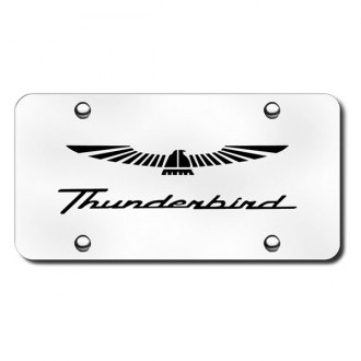 Autogold® - 3D Laser Etched Thunderbird Logo on Chrome License Plate