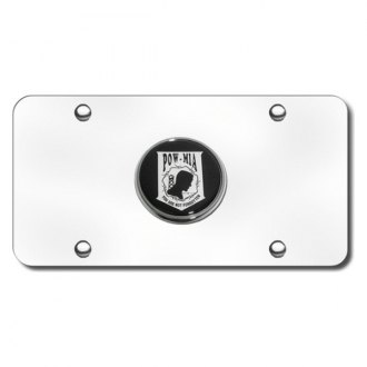 Autogold® - Pow/Mia Logo on Chrome License Plate