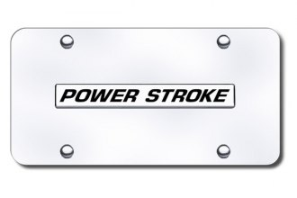 Autogold® - Powerstroke Logo on Chrome License Plate