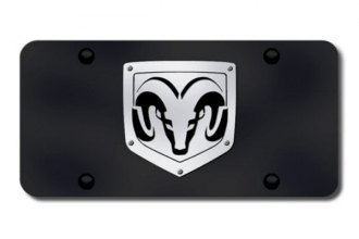 Autogold® - 3D Brushed Stainless Ram Logo on Black License Plate