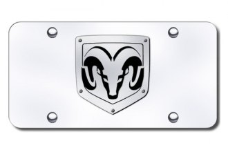 Autogold® - 3D Brushed Stainless Ram Logo on Chrome License Plate