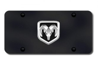 Autogold® - Ram OEM Chrome Logo on Black License Plate