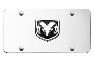 Autogold® - Ram OEM Chrome Logo on Chrome License Plate