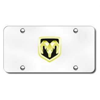Autogold® - 3D Gold Ram OEM Logo on Chrome License Plate