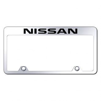 Autogold® - Inverted Chrome License Plate Frame with Engraved Nissan Logo