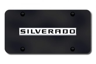 Autogold® - Silverado Name Logo on Black License Plate