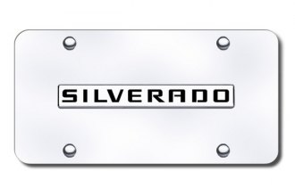 Autogold® - Silverado Name Logo on Chrome License Plate