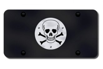 Autogold® - 3D Brushed Stainless Skull Logo on Black License Plate
