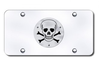 Autogold® - 3D Brushed Stainless Skull Logo on Chrome License Plate