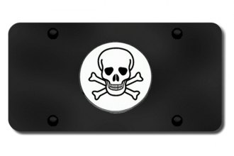 Autogold® - Skull Logo on Black License Plate