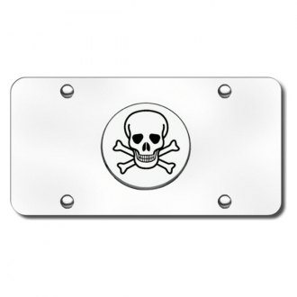 Autogold® - Skull Logo on Chrome License Plate