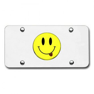 Autogold® - Chrome License Plate with Chrome Smiley with Tongue Logo
