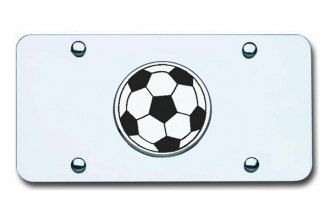 Autogold® - Soccer Ball Logo on Chrome License Plate