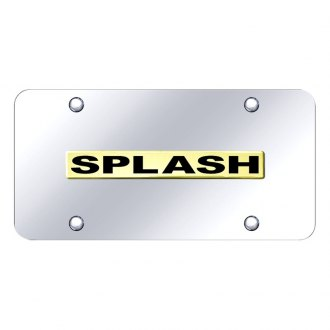 Autogold® - 3D Gold Splash Logo on Chrome License Plate
