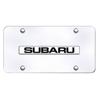 AutoGold� - 3D Chrome Subaru Logo on Chrome License Plate