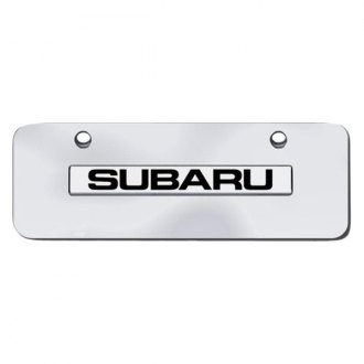 AutoGold� - 3D Chrome Subaru Logo on Chrome Mini Size License Plate
