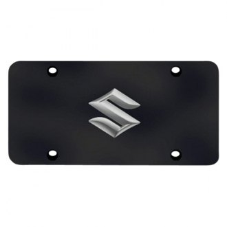 Autogold® - Suzuki Chrome Logo on Black License Plate