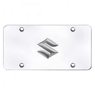 Autogold® - Suzuki Chrome Logo on Chrome License Plate