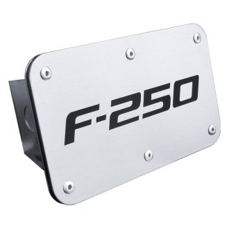 Autogold® - Brushed Stainless Hitch Cover with F-250 Logo
