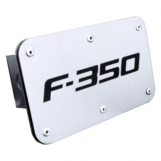 Autogold® - Brushed Stainless Hitch Cover with F-350 Logo